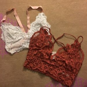 2 Lace Bralettes --Free People